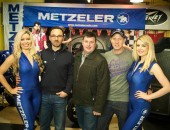 Brand Manager at Metzeler, Enrico D'Aloja with James Courtney, President of the Dundrod and District Motorcycle Club and road racer Gary Johnson.