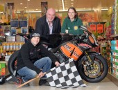 Bruce Anstey, Noel Johnston (Clerk of the Course) and Caitriona McCarry (Lidl NI)