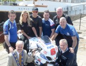 Tyco Suzuki's William Dunlop is confident he will be fully fit and able to make amends for his premature exit at the Isle of Man TT with a strong performance at the Metzeler Ulster Grand Prix this August.   Pictured is William with fellow road racers Peter Hickman, Michael Dunlop and Paul Owen, UGP Clerk of the Course Noel Johnston, UGP grid girl Sorrel Flack, Lisburn City Council Deputy Mayor, Cllr Thomas Beckett and Metzeler's Barry Urand at the launch of the 2014 Metzeler Ulster Grand Prix at the SS Nomadic Belfast, earlier this month.